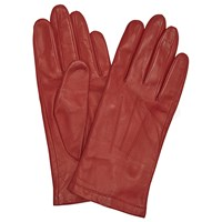 John Lewis Fleece Lined Leather Gloves Red