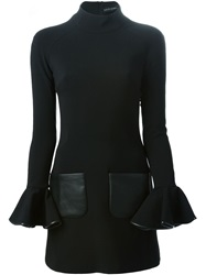 David Koma Flared Sleeve Dress Black
