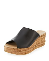 Andre Assous Bernice Leather Wedge Sandal Black