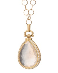 Snow Quartz And Diamond Teardrop Locket Necklace Monica Rich Kosann
