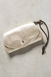 Anthropologie Pebbled Leather Pouch Platinum