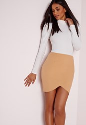 Missguided Curve Hem Mini Skirt Camel Beige