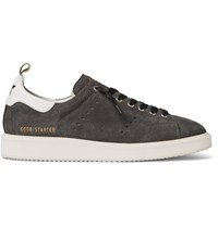 Golden Goose Deluxe Brand Starter Leather Trimmed Suede Sneakers Gray