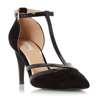 Linea Clarice Pointed Toe T Bar Court Shoes Black