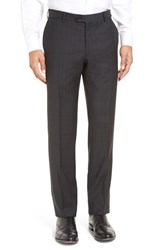 Men's Pal Zileri Flat Front Plaid Wool Trousers Charcoal