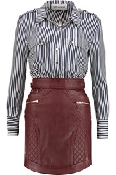 Self Portrait Paneled Striped Satin And Faux Leather Dress Red