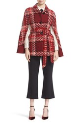 Kate Spade Women's New York Chunky Plaid Belted Wool Blend Cape