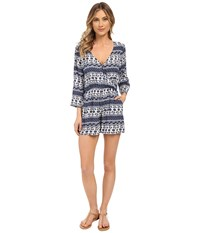 Brigitte Bailey Stella Printed Long Sleeve Romper Navy Ivory Women's Jumpsuit And Rompers One Piece Blue