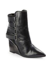 Luxury Rebel Rahda Shearling Lined 2 Leather And Suede Wedge Booties Black