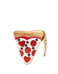 Betsey Johnson Slice Baby Sequined Wristlet Clutch Pizza