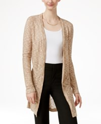 Ny Collection Marled Pointelle Knit Cardigan Sesame