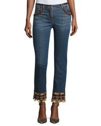 Etro Tassel Hem Denim Jeans Denim Medium Blue