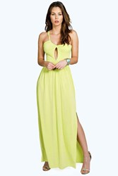 Boohoo Slinky Cutout Shoulder Detail Maxi Dress Lime