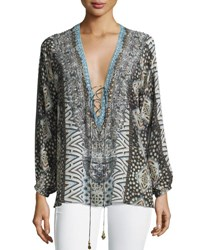 Camilla Embellished Lace Up Silk Top Imperial Echo
