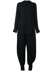 Y 3 Layered Effect Buttoned Jumpsuit Black