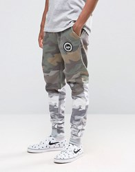 Hype Cuffed Joggers With Camo Panels Khaki Green
