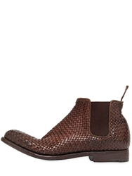 Alberto Fasciani Braided Buffalo Leather Ankle Boots Brown