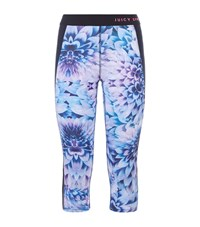 Juicy Couture Cropped Floral Print Leggings Female Blue