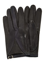 Imoni Color Blocked Lambs Leather Glove With Strap Black