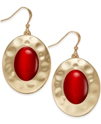 Style And Co. Gold Tone Red Stone Drop Earrings Only At Macy's