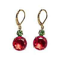 Zt Fuschia Pink And Peridot Green Vintage Jewel Earrings
