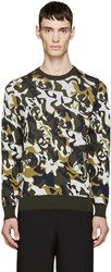 Alexander Mcqueen Green And Cream Skull Camouflage Pullover