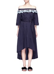Peter Pilotto Deco Lace Belted Off Shoulder Dress Blue