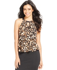 Thalia Sodi Faux Leather Trim Printed Peplum Halter Top Only At Macy's Cheetah