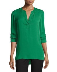 Diane Von Furstenberg Esti Silk High Low Blouse Green