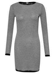 French Connection Starzy Stripe Long Sleeve Dress Black Silver