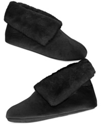Charter Club Microvelour Bootie Slipper With Memory Foam Only At Macy's Black