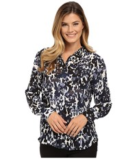 Vince Camuto Button Front Animal Spring Blouse Black Orchid Women's Blouse