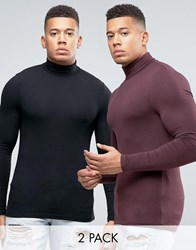 Asos Extreme Muscle Long Sleeve T Shirt With Roll Neck 2 Pack Multi