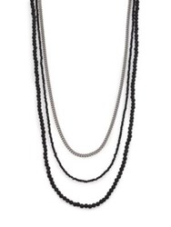 King Baby Studio Black And Silver Triple Strand Necklace