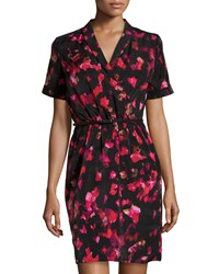 Marc New York By Andrew Marc Half Sleeve Surplice Printed Belted Dress Multi