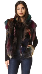 Adrienne Landau Textured Fox Vest Multi