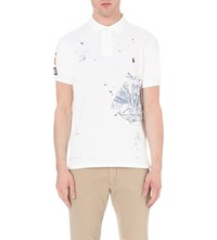 Ralph Lauren Custom Fit Printed Cotton Pique Polo Shirt White