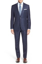 Men's Boss Trim Fit Windowpane Wool And Linen Suit