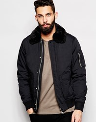 Schott Bomber Jacket With Faux Fur Collar Black