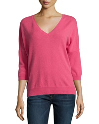 Minnie Rose Cashmere V Neck 3 4 Sleeve High Low Sweater Stella Pink