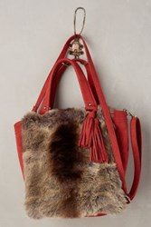 Anthropologie Plateau Faux Fur Tote Red