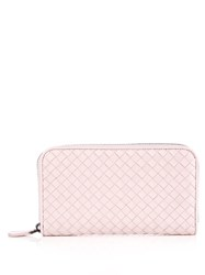 Bottega Veneta Intrecciato Leather Zip Around Wallet Light Pink