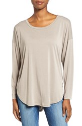 Bobeau Women's High Low Long Sleeve Tee Dark Coco