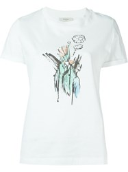 Paul Smith Red Ear Sketched Bird Print T Shirt White