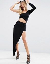 Asos Halloween Cut Out Maxi Playsuit With One Shoulder Black