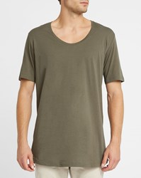 Iriedaily Khaki Long Low Round Neck T Shirt
