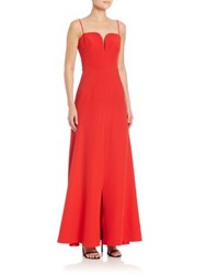 Milly Italian Cady Ana Mermaid Gown Red