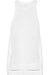 10 Crosby By Derek Lam Open Knit Cotton Blend Sweater White