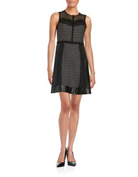 Rachel Roy Patterned Faux Leather Accented Dress Black