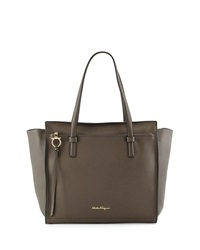 Amy Large Leather Tote Bag Ash Cendre Salvatore Ferragamo